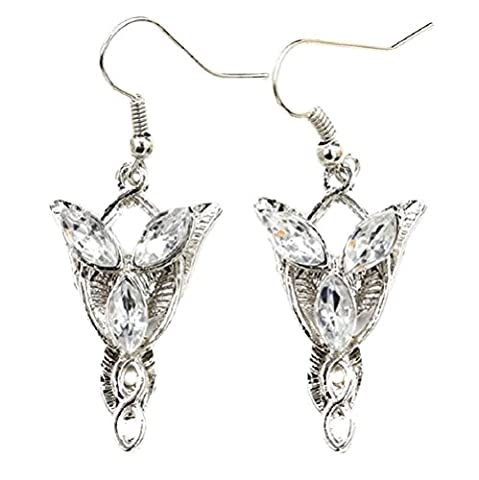 Paar Ohrringe passend zur Halskette Abendstern Modeschmuck Silber Kristall Herr der Ringe Arwen (Arwen Von Herr Der Ringe Kostüm)