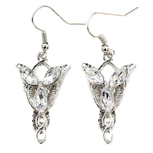 Paar Ohrringe passend zur Halskette Abendstern Modeschmuck Silber Kristall Herr der Ringe Arwen (Arwen Herr Der Ringe Kostüm)