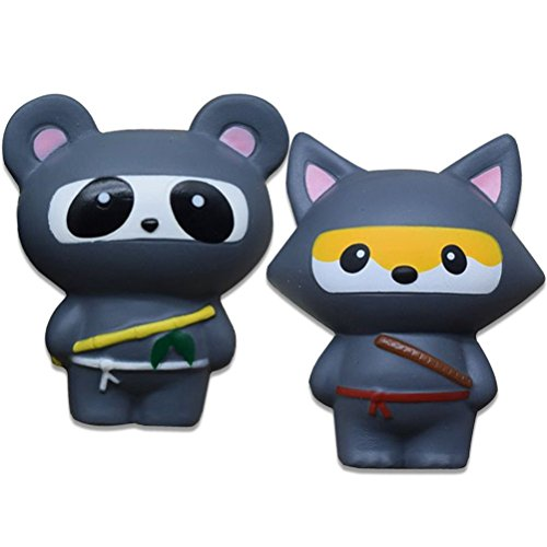 weiche Ninja Squishies, ATEENY kawaii panda & fuchs süss duftend langsam aufsteigend squishy für (grau/ Panda+Fuchs) (Kawaii Ninja)