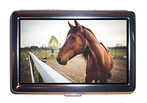 be07d5cabd Portafoglio o portasigarette, cavallo marrone animale, custodia porta carte  di credito di protezione