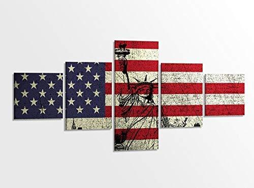 Leinwandbild 5 tlg. 200cmx100cm Flagge Fahne USA Sterne New York Freiheitsstatue Bilder Druck auf Leinwand Bild Kunstdruck mehrteilig Holz gerahmt 9AB318