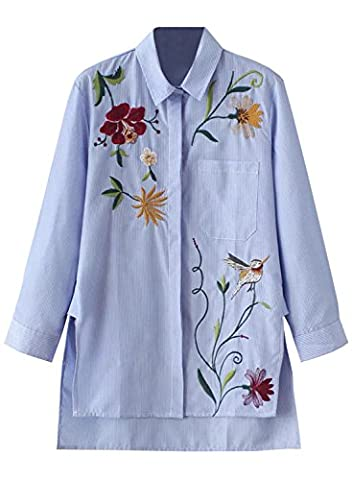 Futurino Women's Striped Basic Collar Button Down Embroidery Shirt Blouse L Blue
