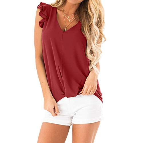 CAOQAO Elegant V-Ausschnitt Langarm Casual Damen Sommer Sommer Sexy Pure Color Top Fashion T-Shirt