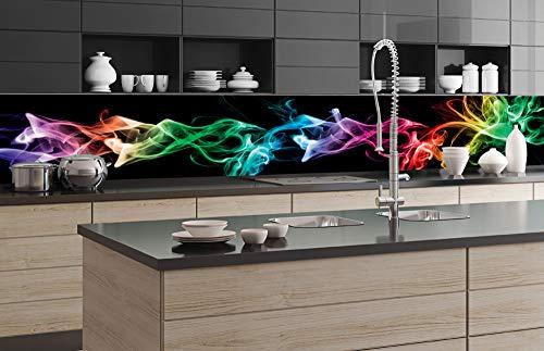 DIMEX LINE Küchenrückwand Folie selbstklebend SCHWARZER Rauch 350 x 60 cm | Klebefolie - Dekofolie - Spritzschutz für Küche | Premium QUALITÄT