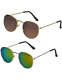 SME JAIPUR Combo Of 2 Round Sunglasses   (Brown & Yellow)