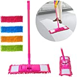 RRJ Wet and Dry Cleaning Flat Microfiber Floor Cleaning Mop with Telescopic Long Handle Dry Mop, Standard (Multicolour)