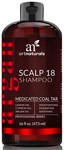 ArtNaturals Therapeutic Argan Anti-Dandruff Shampoo - (16 Fl Oz / 473ml) - Natural and Organic Coal Tar with Argan Oil - Treatment Helps Anti-Itchy Scalp, Symptoms of Psoriasis, Eczema - Sulfate Free,