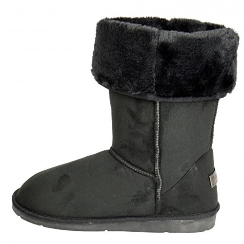 womens-boots-ladies-ankle-mid-calf-faux-fur-lined-collar-winter-warm-snow-boots-black-5