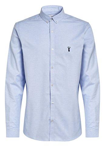 next Herren Oxford-Stretchhemd mit Langen Ärmeln Hellblau XL - Mandarin Kragen Ärmellos