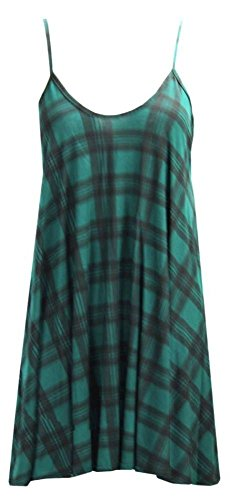 Damen Cami Flared Skater Damen TankTop Strappy Vest Top Swing Mini Dress, Gr. 36-54 - GREEN TARTAN