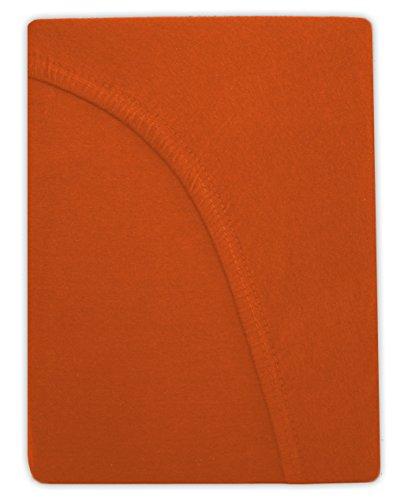 Farbenfrohes Jersey Spannbettlaken Spannbetttuch Bettlaken aus hautsympathischer 100% Baumwolle (120 x 200 cm, Terrakotta / Dunkeloragne) - 2
