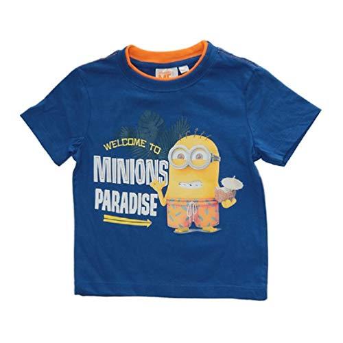 Minions Kinder T-Shirt 'Welcome to Paradise' Blau, Größe:116 (6 A) (Größe 6 Pj Mädchen)
