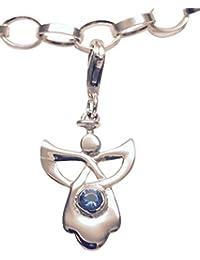 Broche de plata de ley Celtic ángel de la guarda piedra Natal para pulsera rígida - de septiembre
