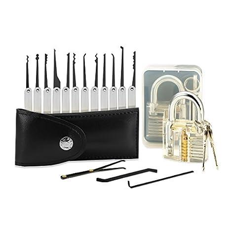 Kit de Crochetage / Lockpicking, SGODDE Set Complet de 15 Pièces avec une Serrure D'entraînement - un Cadenas Transparent et Serrure de Pratique et deux Clés dans une Housse de Transport