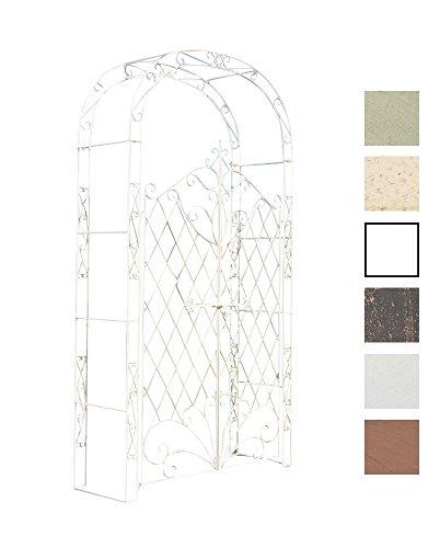 CLP Eisen Rosenbogen Melissa mit Tor/Tür, Doppeltor Höhe 150 cm, Maße gesamt: Breite 120 cm, Höhe 220 cm, Tiefe 40 cm Antik Creme -