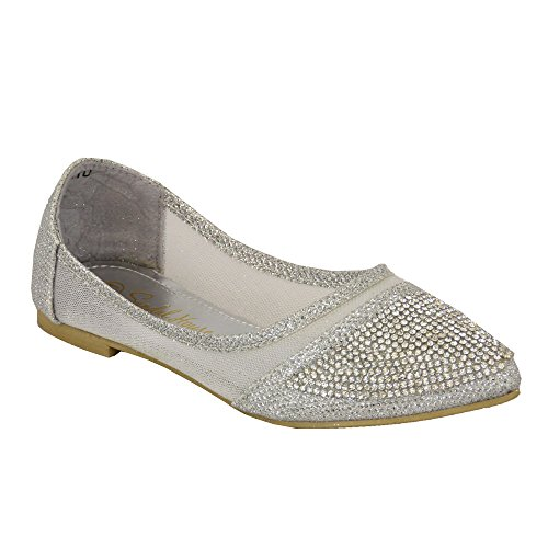 Madchen Ballerina Schuhe Kinder Strass Pumps Flache Slipper Party