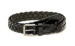 Tops 25mm Black Hand Braided Leather Belt For Women