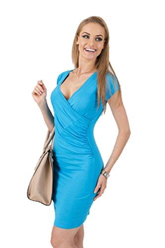KingField - Robe - Crayon - Manches Courtes - Femme Bleu clair