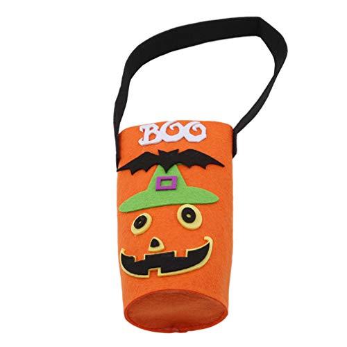 (Uojun Halloween Weinflasche Tasche Modische Halloween Ghost Nette Kürbis Wein Champagner Geschenktüte mit Starken Griff, Orange, Vliesstoff)