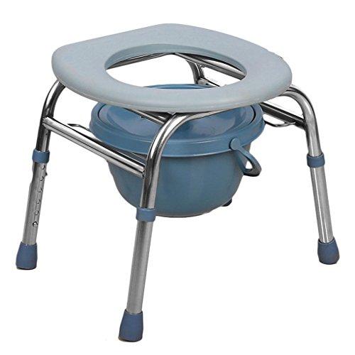 Comò Comodini seduta WC sedia in acciaio inox anziani donne incinte WC 3-In-1 in acciaio (Acciaio Inossidabile Benna)