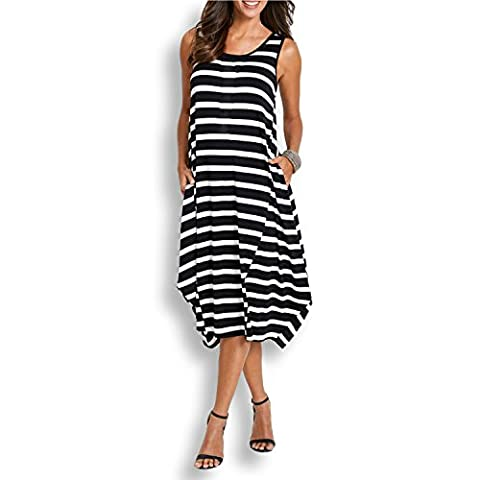 SUNNOW Women's Black Striped Casual Sleeveless Tank Top Midi Maxi Dress With Two Hidden Pocket (S/UK6, Black)