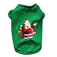 Doggie Style Store Christmas Xmas T-Shirt Santa Claus Green Dog Puppy Pet Cat Kitten Vest Top Shirt
