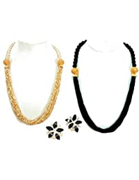 ERA Beads Necklace Set For Women Stylish | Combo Pack Of 2 Beads Necklace And 1 Earring