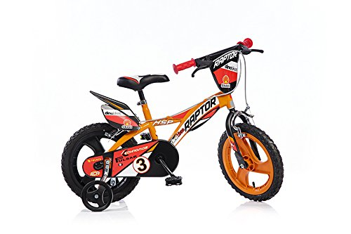 Raptor Jungen Kinderfahrrad Orange Jungenfahrrad - 14 Zoll | TÜV geprüft | Original | Kinderrad mit Stützrädern - Das Fahrrad als Geschenk für Jungen