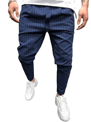 CuteRose Men's Fashion Taper Fit Summer Trousers Striped Tenths Pants Sapphire Blue S Relaxed Fit Pleated Chino-hose