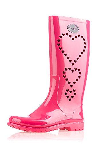 MEI LA Damens Original Perforierte 3 Herze Gummistiefel Pink