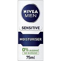 Nivea Men Sensitive Moisturiser, 0% Alcohol Skin Care, 75 ml, Pack of 2