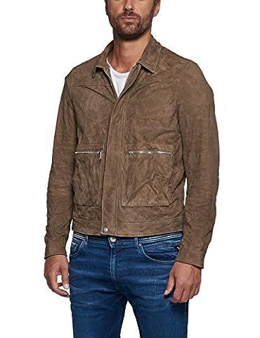 Replay Men's Men's Suede Beige Jacket in Size L Beige