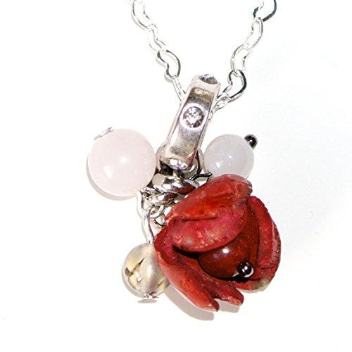 Sterling Silber 925 Herz Design 18-Zoll-Kette Leder Blume Edelsteine Anhänger Halskette (Einfache Kostüme Für Lehrer)