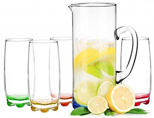 Wasserkaraffe 1,5 L mit 4 Gläser Karaffe Krug Glaskaraffe Glaskrug