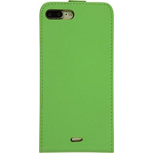 PhoneNatic Kunst-Lederhülle für Apple iPhone 7 Plus Flip-Case schwarz Tasche iPhone 7 Plus Hülle + 2 Schutzfolien Grün