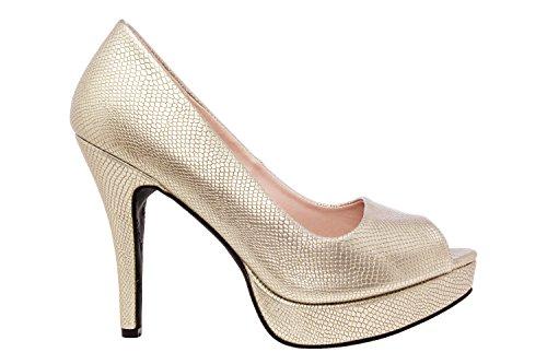 Andres Machado.AM5003.Peep-Toes en Soft.Pour Femmes.Petites et Grandes Pointures de la 32/35-42/45. Doré
