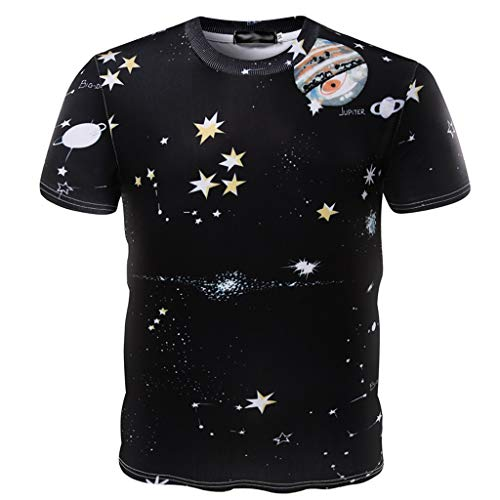 ODRD Hot Jugend Herren T-Shirt Frühling Sommer Herren Sommer Slim Stars Moon Brief Print Shirt Kurzarm Pocket Top Lässiges Weste Vest...