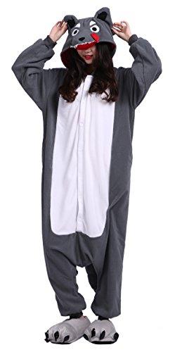 Wolf Erwachsenen-strampelanzug, (CuteOn Unisex Erwachsene Cartoon Tier Kigurumi Pyjamas Nachtwäsche Mit Kapuze Cosplay Kostüm Grau Wolf L for Höhe 168-177CM)