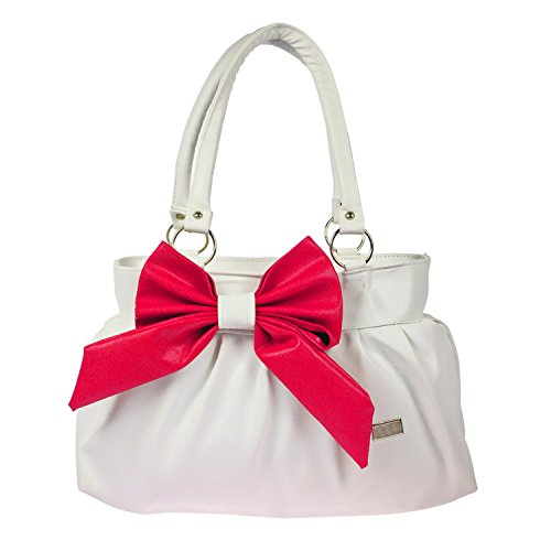 JG Shoppe Stylish and Fashionable PU Leather Handbag / Shoulder Bag / Purse For Women/Girls/Ladies (White and Pink)