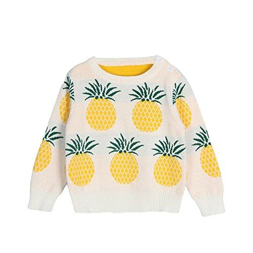 Baby Mädchen Jungen Herbst Winter Baumwolle Strickjacke Strickpullover Pulli Kleinkinder Rundhals Pullover Sweatshirt mit Ananas Druck Weiß 100 (Ananas Bai)