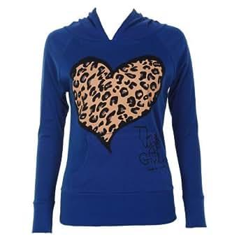 Ladies Leopard Heart Print Hoodie, Royal Blue SM 8-10