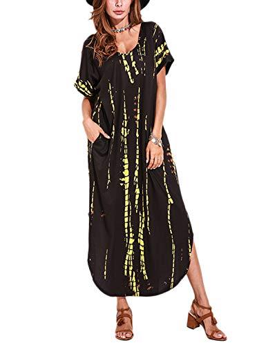 VONDA Sommerkleid Damen Maxikleider Sommer Lang Strandkleid Große Größen Kaftan Kleider E-schwarz 2XL
