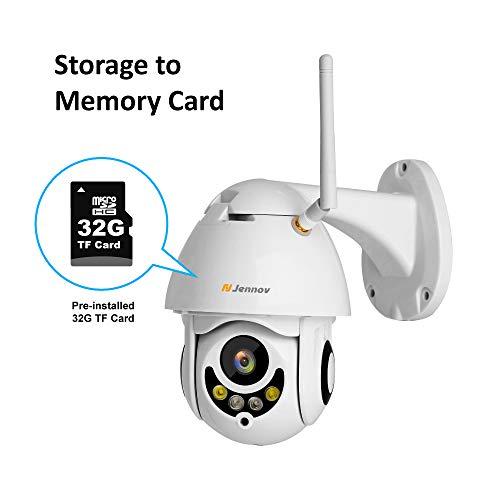 Jennov PTZ IP Überwachungskamera 1080P Wireless Dome Kamera 265° schwenkbar 90° neigbar 4-Fach Zoom Einweg-Audio 30m IR Nachtsicht IP66 wasserdicht APP Fernzugriff mit 32GB TF-Karte für Innen Außen