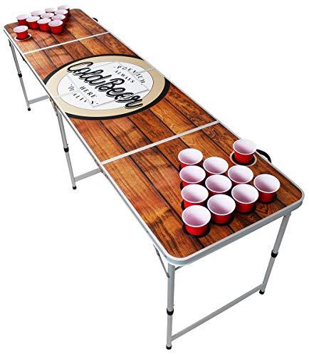 Original Premium Beer Pong Tisch - Wood - inkl. Eisfach, 6 Beer Pong Bälle & Becherhalterung (inkl. 50 Red Cups) -