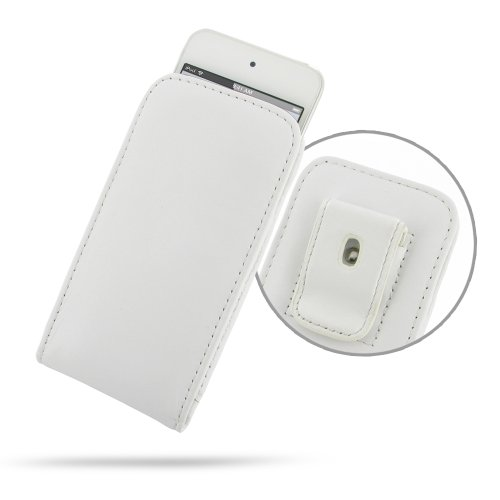 PDAir iPod touch 6/iPod touch 5th Generation Genuine Leather Pouch Case with Belt Clip (White), Handmade Premuim Leather Vertical Pouch Case for iPod touch 6/5th Generation, Holster, Sleeve - Mp3-player Belt Pouch