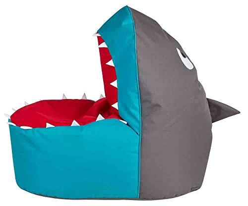 lifestyle4living Sitzsack Shark in Einem blau-grauen Haifisch-Design, Shark Brava, Füllung aus 100%...