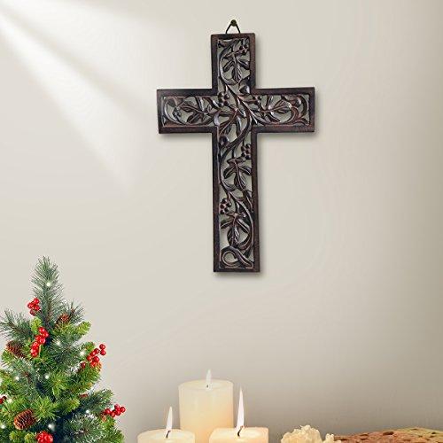 Store Indya, Dekorative handgefertigte holzerne Kruzifixe Hand geschnitzte Blumen Entwurf Wand Kreuz fur Wand hangende religiose Home Decor Zubehor (Braun7)