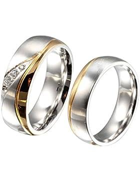 Beydodo Edelstahl Herren Ringe (Ehering) Damen Ringe, Welle Linie Streifen Design Mit CZ Gold Silber 1PC
