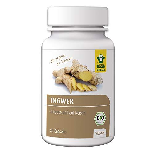 Raab Vitalfood Bio Ingwer-Kapseln, 80 Stück à 400 mg, ohne Zusätze, mit ätherischen Ölen, vegan und glutenfrei, Gingerol, Ingwer-Pulver, schonend verarbeitet, 1-er Pack (1 x 32 g)