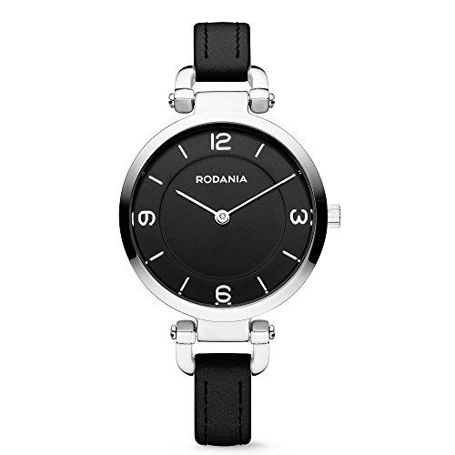 RODANIA 26090–26–Wristwatch women's, Leather Strap Black